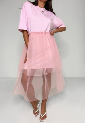 Missguided Pink Tiered Mesh T Shirt Dress