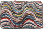 Missoni Leather-trimmed Metallic Crochet-knit Cosmetics Case - Ivory