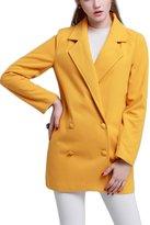 Moonpin Women's Casual Double Breasted Woolen Trenchcoat Outwear L