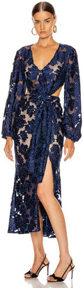 Alice McCall Magic Moonlight Midi Knot Dress in Indigo | FWRD