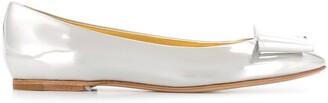 Casadei Metallic Bow Detail Ballerinas