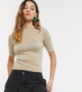 BEIGE Collusion COLLUSION fitted short sleeve t-shirt in