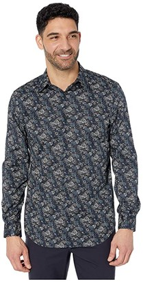 Perry Ellis Regular Fit Stretch Printed Shirt (Dark Sapphire) Men's Clothing