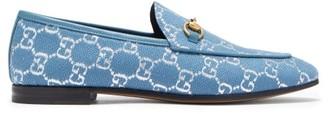 Gucci Jordaan Gg-jacquard Horsebit Loafers - Blue Silver