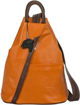 Big Handbag Shop Womens Soft Genuine Leather Convertible Strap Backpack Bag - Made in Italy with a Branded Protective Storage Bag and Charm (Orange BrownT)
