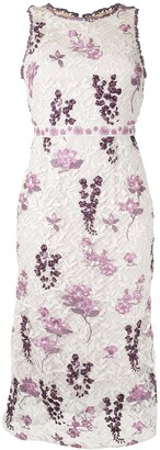 Marchesa Notte Floral Embroidered Dress