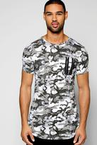 Boohoo Muscle Fit Camo Zip T Shirt With Scooped Hem