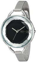 SO&CO New York Women's 5104.2 SoHo Quartz Black Dial with Faceted Glass and Stainless Steel Mesh Bracelet Watch