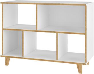 Manhattan Comfort Minetta 5-Shelf Mid Century Low Bookcase