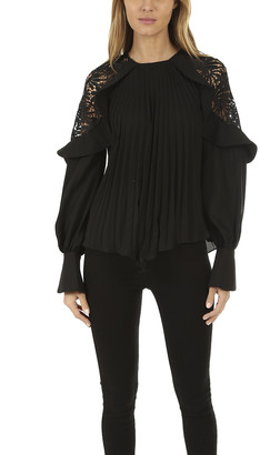 Self-Portrait Lace Shoulder Top