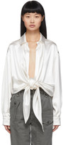 Saint Laurent Off-White Silk Satin Tie-Up Blouse