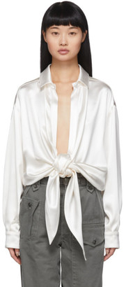 Saint Laurent Off-White Silk Satin Tie-Up Blouse