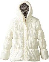 Pink Platinum Big Girls' Faux Button-Placket Puffer Jacket