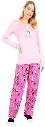 Hue Party Penguins Knit PJ Set with Socks (Begonia Pink) Women's Pajama Sets