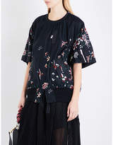 Sacai Floral-embroidered shell top