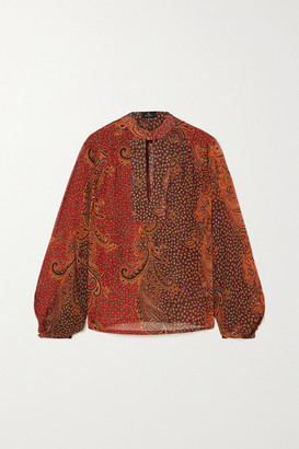 Etro Paisley-print Silk Crepe De Chine Blouse - Red