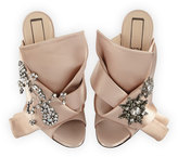 No.21 No. 21 Jeweled Satin 100mm Mule Sandal, Nude