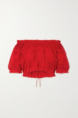 Melissa Odabash Francesca Off-the-shoulder Broderie Anglaise Cotton Top - Red