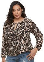 JLO by Jennifer Lopez Plus Size Keyhole Peasant Top