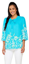 Bob Mackie Bob Mackie's Floral Print 3/4 Sleeve Button Front Blouse