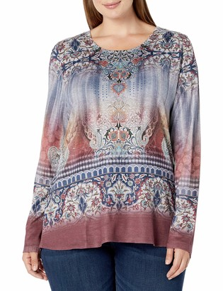 One World ONEWORLD Women's Plus-Size Long Sleeve Printed Top with Bling
