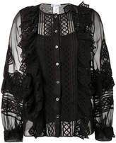 Oscar de la Renta sheer sleeves blouse