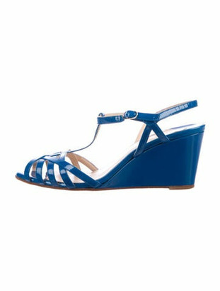 Christian Louboutin Patent Leather T-Strap Sandals Blue