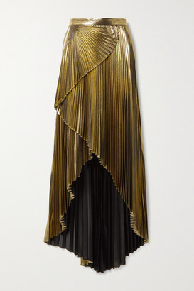 Semsem Wrap-effect Layered Pleated Lame Maxi Skirt - Gold