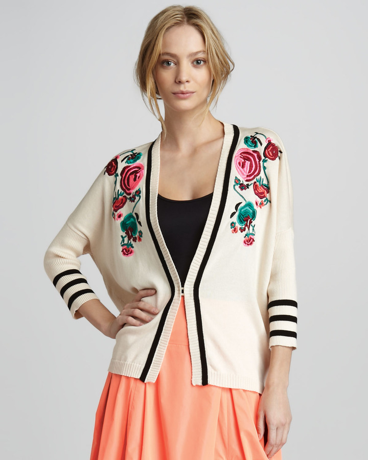Nanette Lepore Tea Ceremony Embroidered Cardigan