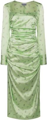 Ganni Floral-Print Ruched Midi Dress
