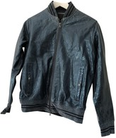 Diesel Black Gold Blue Leather Jacket for Women