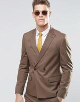 Asos Slim Double Breasted Suit Jacket In Brown
