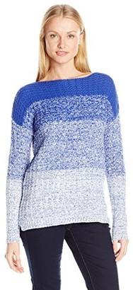 Leo & Nicole Women's Long Sleeve Boat Neck Novelty Stitch Pullover