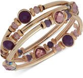 Nine West Gold-Tone 3-Pc. Set Stone & Crystal Bangle Bracelets