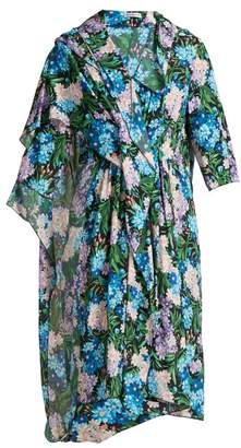 Balenciaga Draped Floral Printed Midi Dress - Womens - Multi