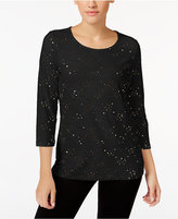 JM Collection Petite Embellished Jacquard Top, Only at Macy's