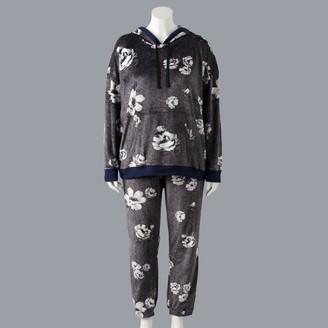 Plus Size Simply Vera Vera Wang Velour Hooded Pajama Top & Pajama Banded Bottoms