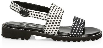Manolo Blahnik Gad Polka Dot Flat Slingback Sandals