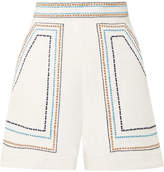 Talitha - Embroidered Cotton-twill Shorts - White