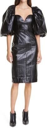 Rotate by Birger Christensen Irina Puff Sleeve Textured Faux Leather Sheath Dress