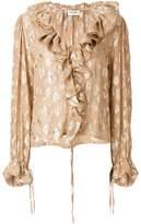 Saint Laurent frill long-sleeve blouse