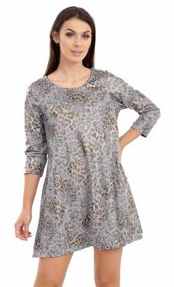 F4S Womens Plus Size Metallic Hued Animal/Floral Print Long Sleeve Mini Swing Dress Ladies Top 14-28 (Gold Swirl UK - 16)