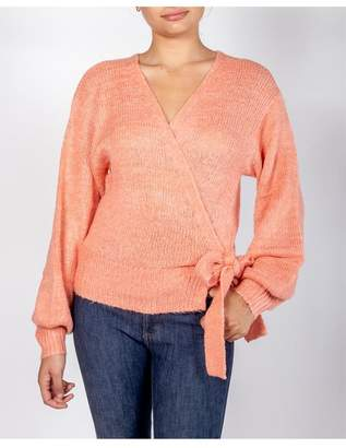 Cotton Candy Coral Wrap Sweater