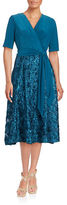 Alex Evenings Plus Rosette-Accented A-Line Dress