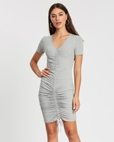 Missguided Ribbed Ruched Front Dress