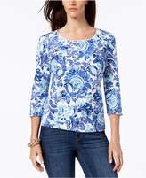 Karen Scott Petite Cotton Printed 3/4-Sleeve Top, Created for Macy's