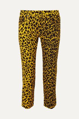 R 13 Joey Leopard-print Mid-rise Slim-leg Jeans - Yellow