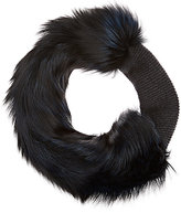 Lanvin WOMEN'S FUR & KNIT STOLE-NAVY, DARK GREY