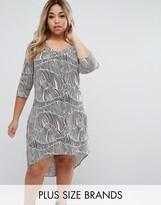 Junarose Printed Shift Dress With Hi Lo Hem