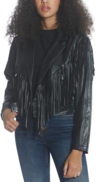 Vigoss Fringed Faux-Leather Jacket